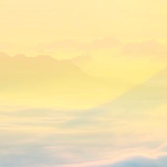 Mar de niebla y el amanecer de fondo.