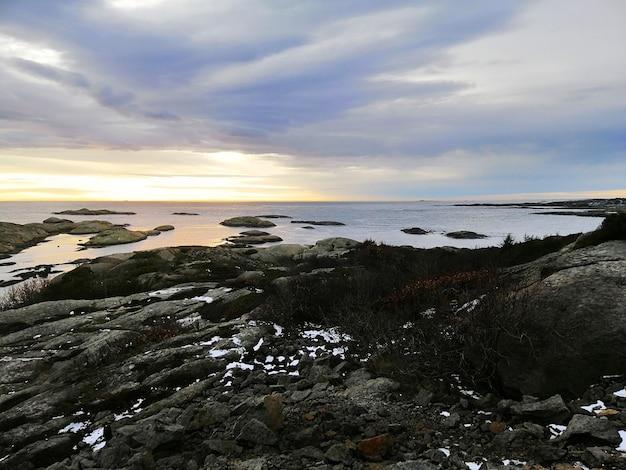 Mar rodeado de rocas cubiertas de ramas bajo un cielo nublado durante la puesta de sol en noruega