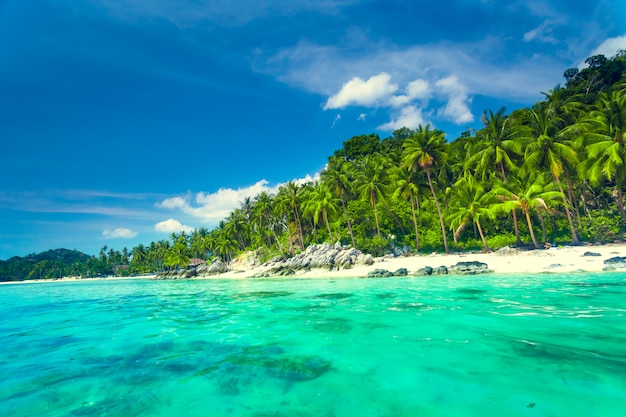 Mar tropical y cielo azul en koh samui, tailandia