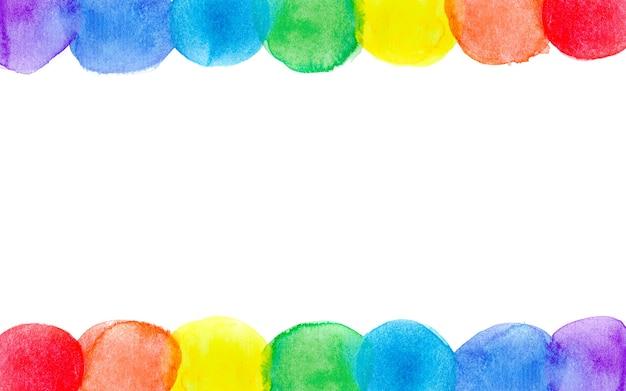 Marco de acuarela abstracta arco iris siete colores brillantes fondo aislado