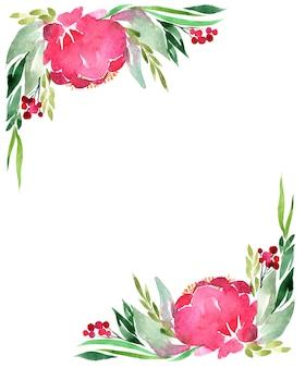 Marco de acuarela de flores, aislado en blanco.