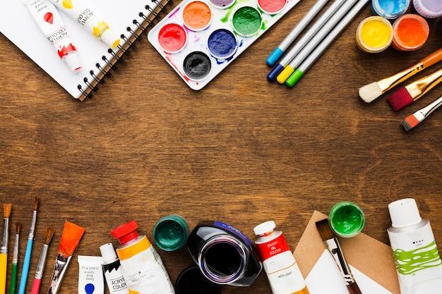Marco de artículos estacionarios creatividad art studio