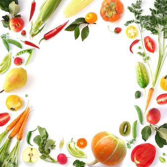 Marco de banner de frutas y verduras mixtas