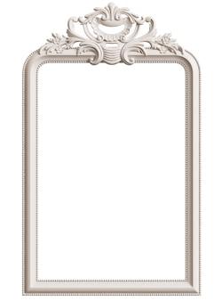 Marco blanco clásico con decoración de adorno para interior clásico aislado