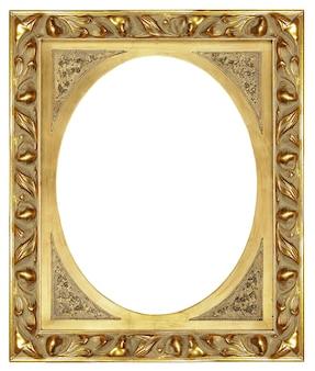 Marco en blanco elegante dorado clásico aislado sobre fondo blanco