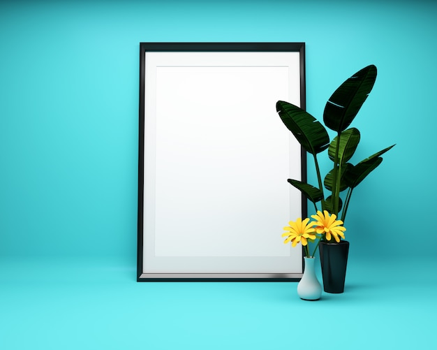 El marco blanco en fondo de la menta con la planta imita para arriba. representación 3d