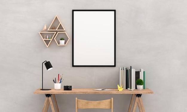 Marco en blanco de la foto para la maqueta en la pared, representación 3d