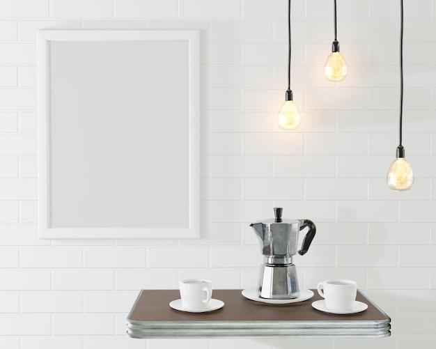 El marco blanco para la imagen en el interior del desván. café conceptual con una pared de ladrillo y lámparas vintage. representación 3d
