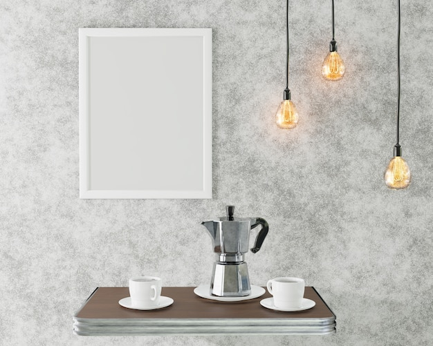 El marco blanco para la imagen en el interior del desván. cafe conceptual. representación 3d