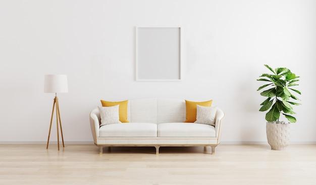 Marco en blanco en la luminosa sala de estar moderna con sofá blanco, lámpara de pie y planta verde en laminado de madera.