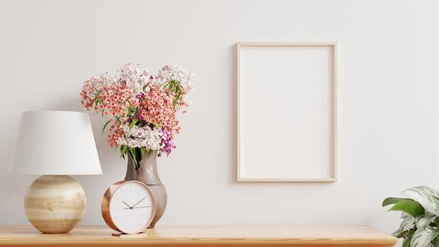 Marco en blanco en la pared en el interior de la sala de estar, estilo escandinavo, render 3d