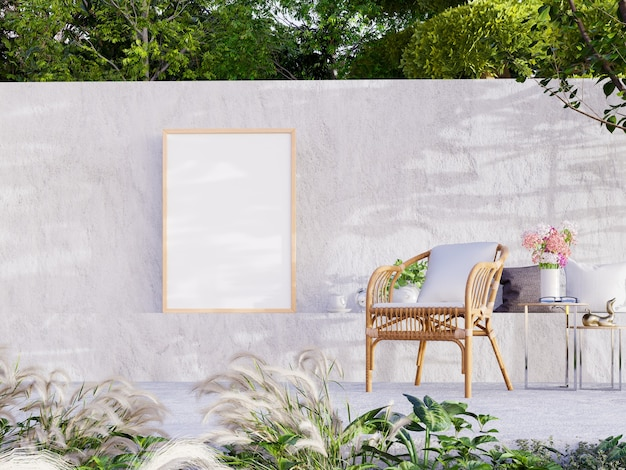 Marco en blanco en la pared con patio de hormigón para sala de estar al aire libre, renderizado 3d