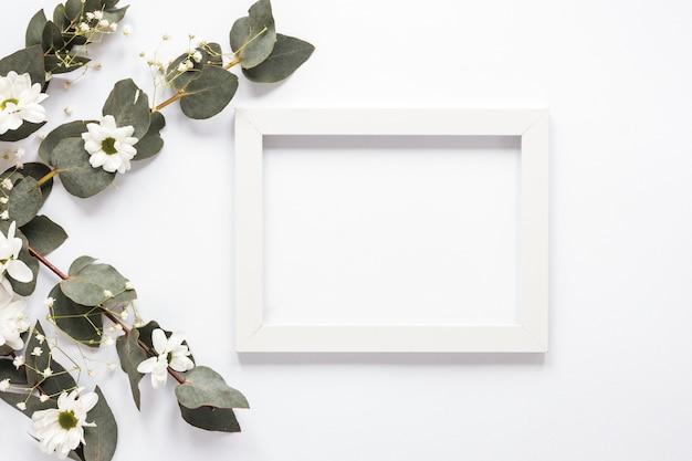 Marco en blanco con ramas de flores y plantas