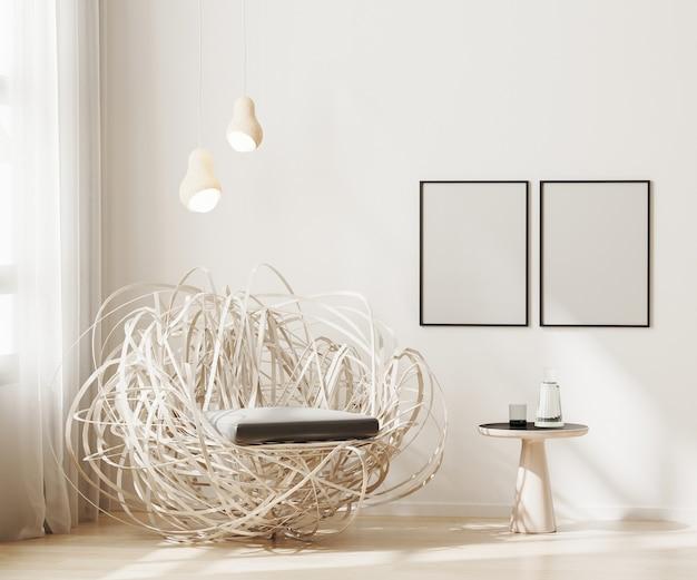 Marco en blanco en la sala de estar beige claro de fondo interior moderno con sillón elegante