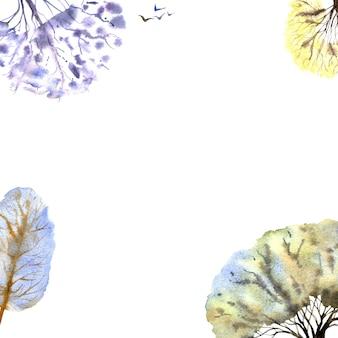 Marco de bosque de invierno sobre fondo blanco. árboles multicolores. ilustración acuarela dibujada a mano.