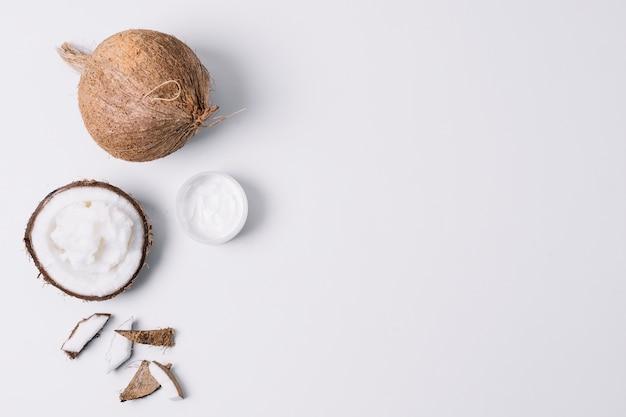 Marco brillante de productos de coco