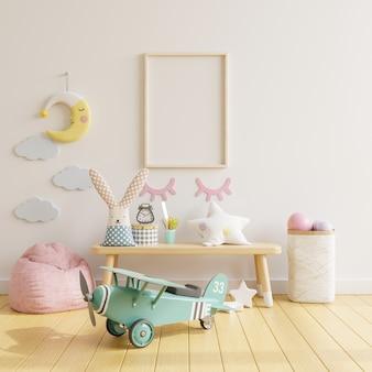 Marco del cartel en la habitación de los niños, representación 3d