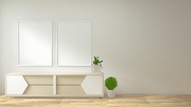 Marco del cartel interior maqueta sala de estar con sala de sofá blanco