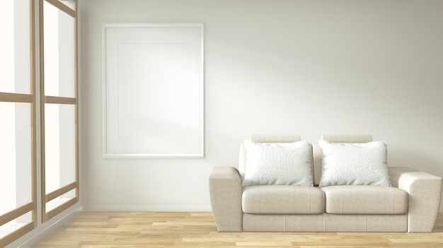 Marco del cartel interior maqueta sala de estar con sofá blanco