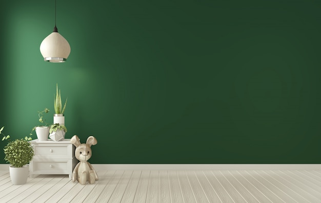 Marco del cartel en el interior de la sala de estar verde oscuro representación 3d