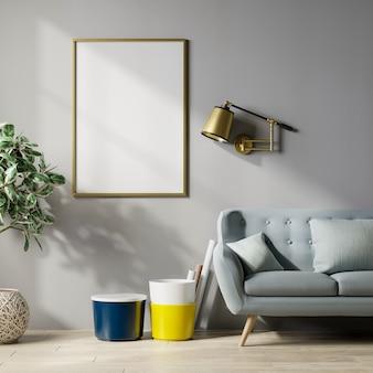 Marco del cartel de la maqueta en el fondo interior moderno, pared gris, representación 3d
