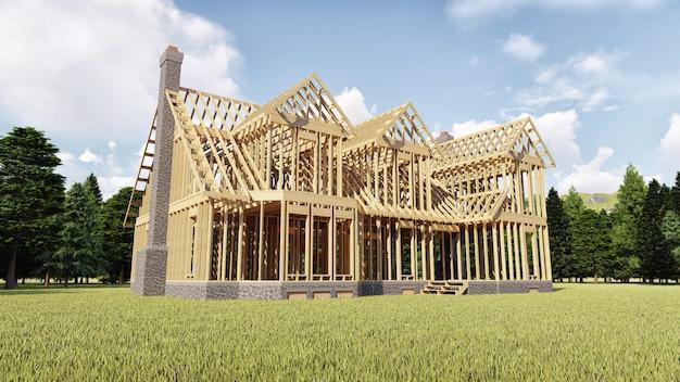 El marco de la casa de madera sobre cimientos de hormigón con chimenea y chimenea.