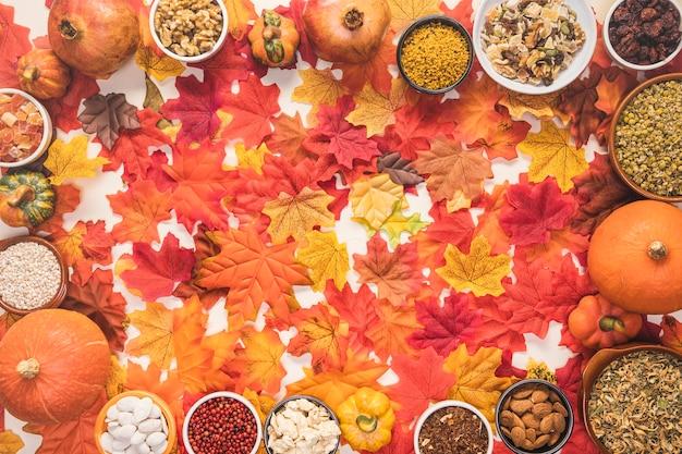 Marco circular de alimentos sobre fondo de hojas