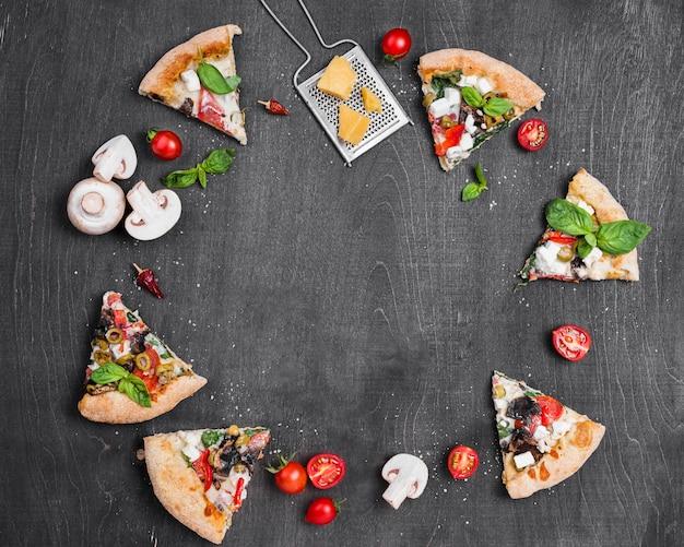 Marco circular de pizza plana