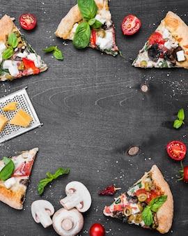 Marco circular de pizza vista superior