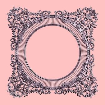 Marco clásico con decoración de adorno en color morado pastel en pared rosa
