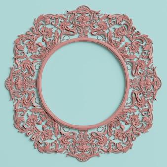 Marco clásico con decoración de adorno en color rosa pastel en la pared azul pastel