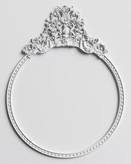 Marco clásico con decoración de adorno en pared blanca