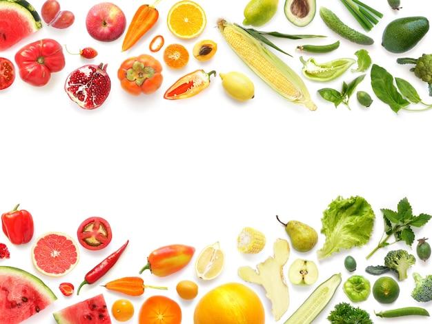 Marco colorido de verduras y hojas