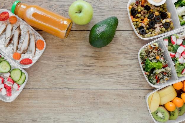 Marco de comida con comida saludable