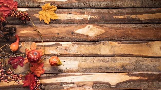 Marco de comida de otoño por encima de vista con espacio de copia