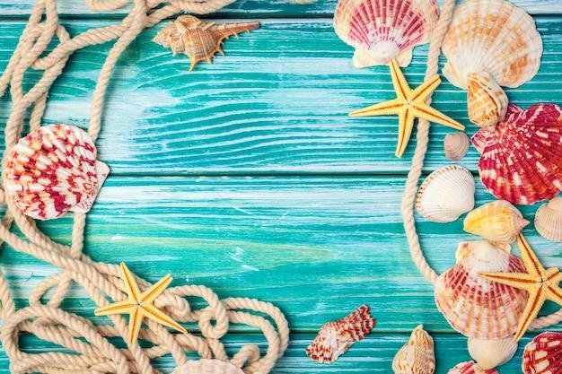 Marco de conchas marinas diferentes sobre fondo de madera
