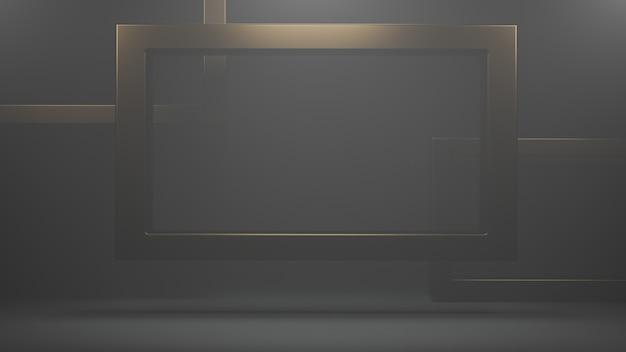 Marco cuadrado dorado para foto, imagen. marco realista con reflexión sobre fondo oscuro representación 3d.