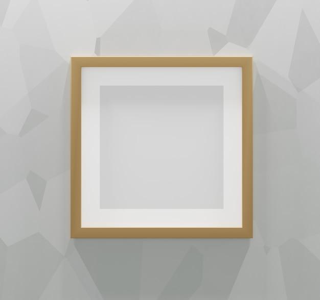 Marco cuadrado dorado sobre un fondo gris abstracto. render 3d