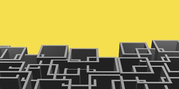 Marco cuadrado intrincado gris sobre un fondo amarillo