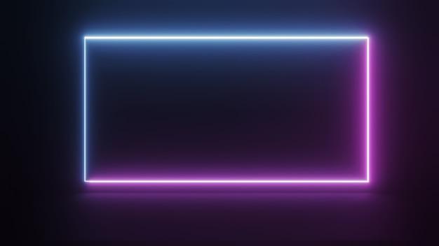 Marco cuadrado de luz de neón ultravioleta sobre fondo de noche oscura