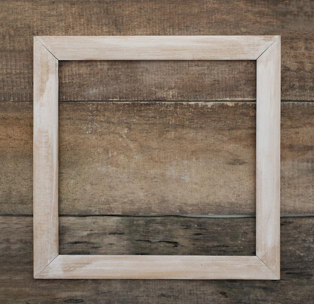 Marco cuadrado de madera. fondo de madera rústico aislado vacío copyspace