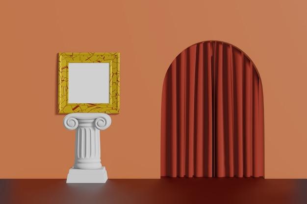 Marco cuadrado vintage dorado se encuentra en una columna