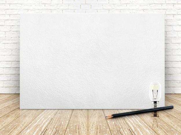 Marco de cuero en la pared de ladrillo blanco y el piso de madera, plantilla para su contenido