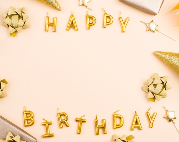Marco de cumpleaños circular vista superior