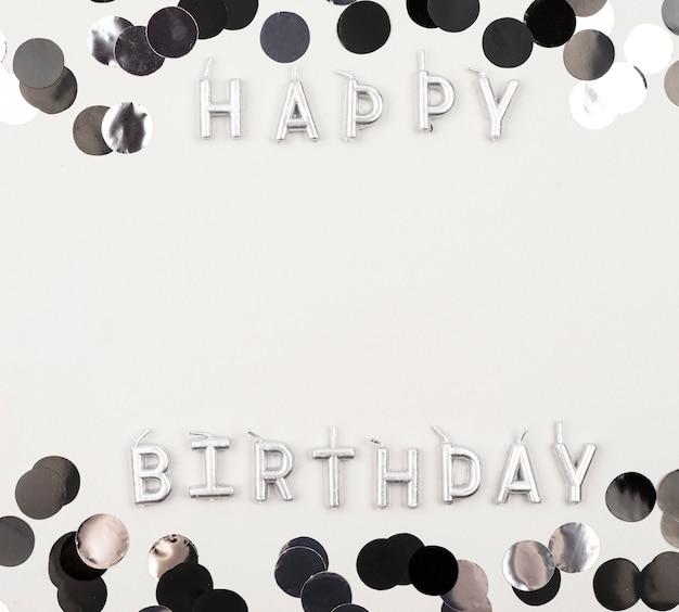 Marco de cumpleaños plano con espacio de copia