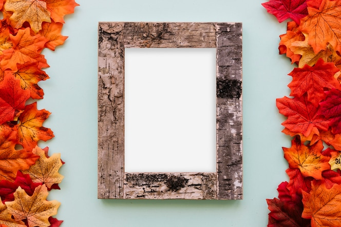 Marco de madera de diseño de otoño