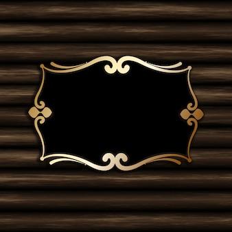 Marco decorativo en blanco sobre un fondo de madera vieja