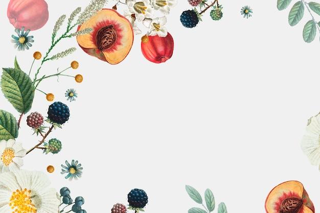 Marco decorativo de flores y frutas dibujado a mano.
