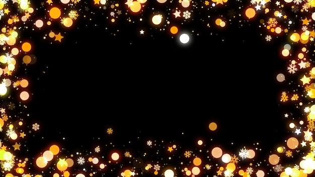 Marco dorado brillante bokeh y estrellas sobre fondo negro con espacio de copia.