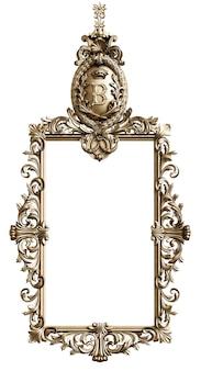 Marco dorado clásico con decoración de adorno aislado sobre fondo blanco. ilustración digital. representación 3d